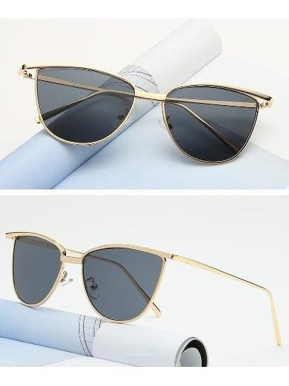 Óculos De Sol De Luxo Gatinha Armação De Metal Vintage