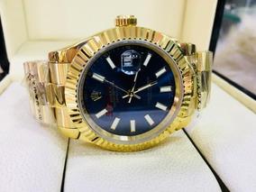 Relógio Rolex Oyster Dourado E Azul (premium) Aaa