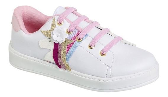 Ténis Unicórnio Infantil Super Estiloso - Branco E Rosa