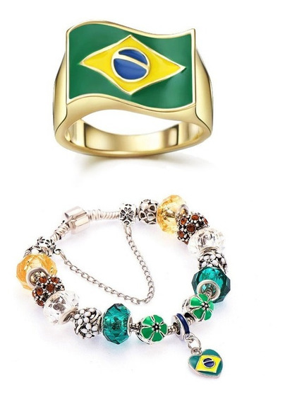 Kit Pulseira + Anel Bandeira Do Brasil Banhado A Ouro 14k