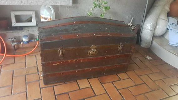 Baú Antigo Vintage Mala De Viagem Retro C/ Trabalho Em Couro