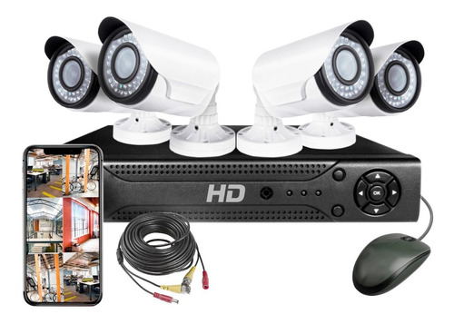 Kit Seguridad Dvr 4  Full Hd 4 Camaras Hd Infrarroja Hdmi Ip