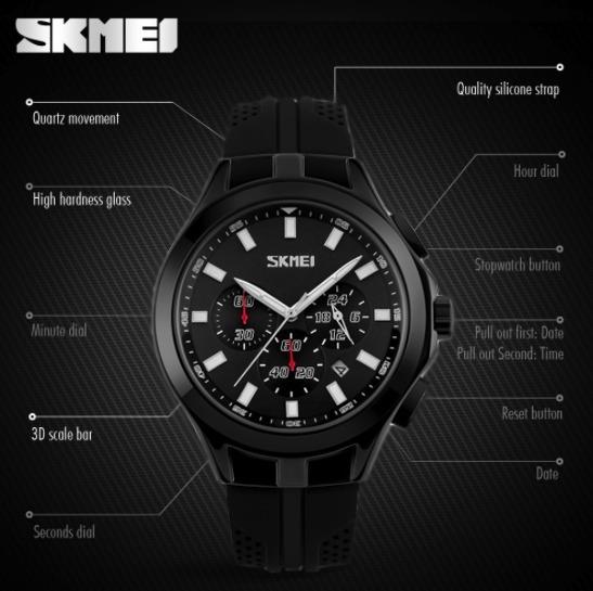Relógio Masculino Exclusivo Original Preto Pronta Entrega