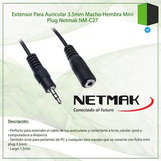Cable Miniplug Macho A Hembra Netmak Nm-c27 1.5mts