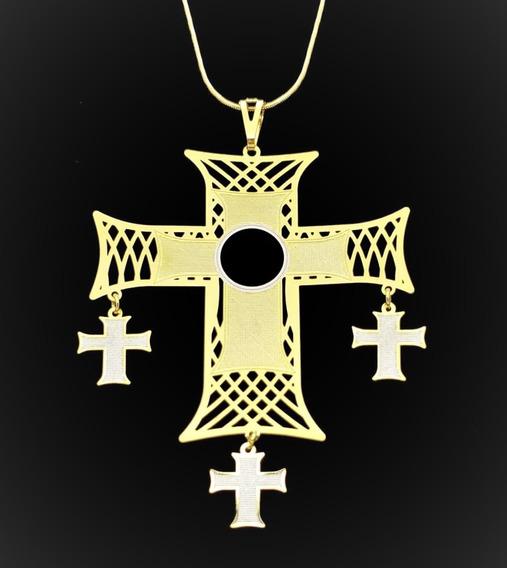 Cordão E Cruz Com 3 Pingentes Em Banho De Ouro 18k 1659