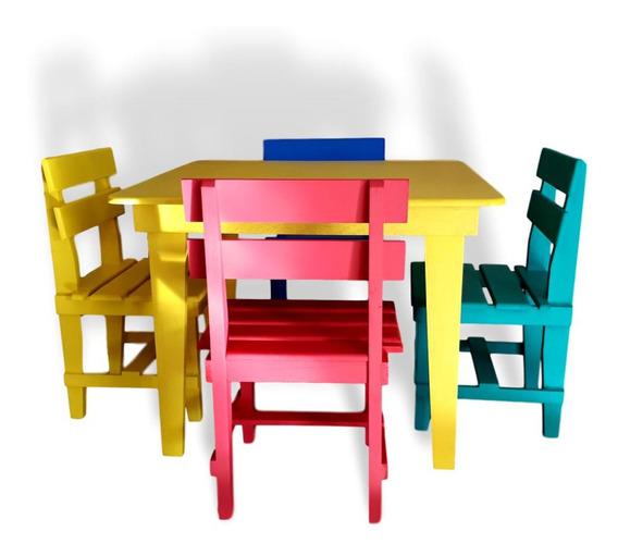 Mesa Mesinha Infantil Estudos 4 Cadeira Colorida Em Madeira