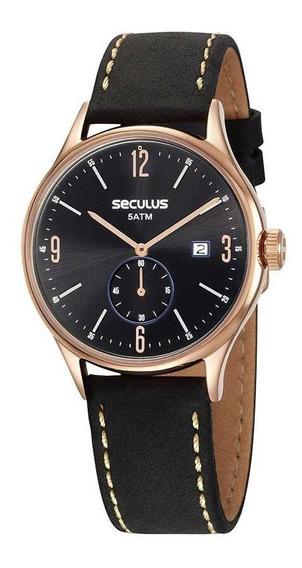 Relógio Seculus Masculino Pulseira De Couro 13039gpsvrc3