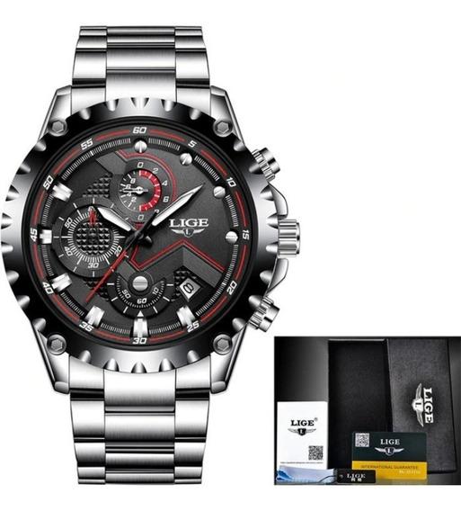 Relógio Masculino Lige Luxo Couro E Aço Inox Cronógrafo Top