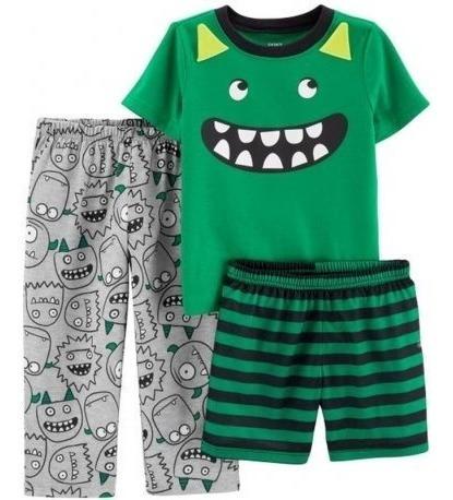 Pijama Infantil Carters Calca Short 3 Pecas Tamanho 3 Anos