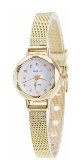 Relógio Feminino Fashion Dourado Mulheres Fino Discreto Novo