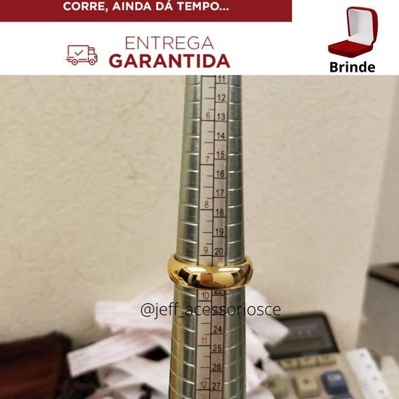 Aliança Ouro 18k Banhada Casamento Tungstênio 6mm