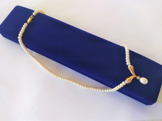 Luxo!! Colar De Perolas Com Colgante De Ouro