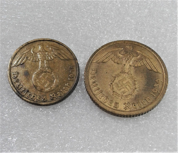 2 Moedas Nazista 5 E 10 Reichspfennig Bronze Alumínio