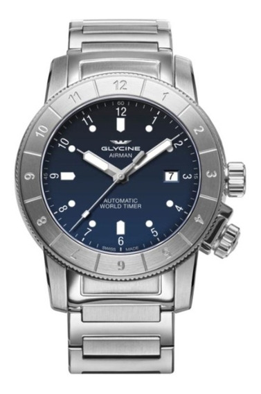 Relógio Glycine Airman Original Gl 0175 Azul Com Bracelete