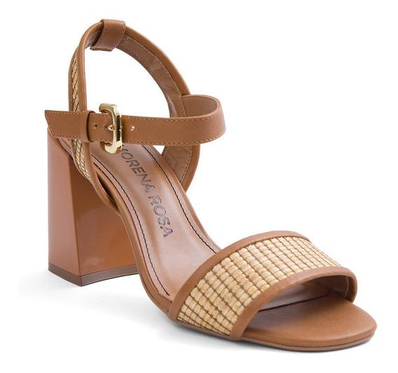 Sandalia Salto Pintado Com Fivela Bege Mr Shoes