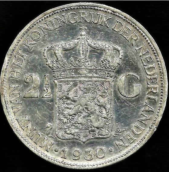 Holanda 1930 2 1/2 Gulden Moneda De Plata Reina Wilhelmina
