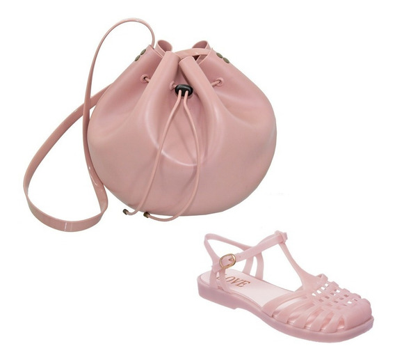 Kit Sandália Feminina Aranha Quadrada + Bolsa Bag Rosa