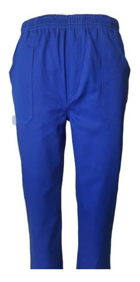 Calça Em Brim Azul Royal Uso Uniformes Profissionais