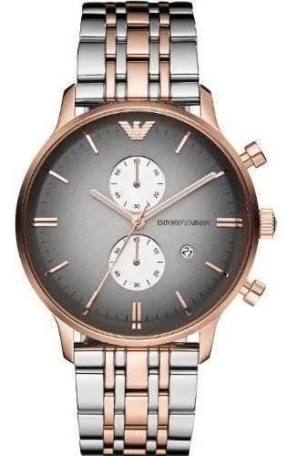 Relógio Emporio Armani Ar1721 Prata,preto E Rose Original Tp