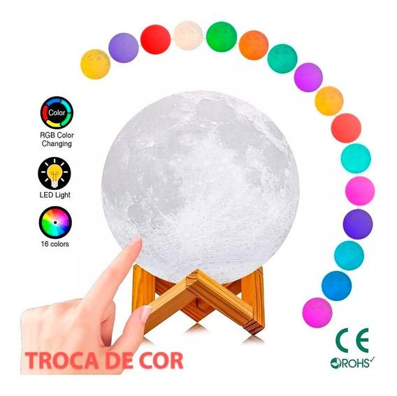 Abajur Lua Cheia 3d Usb Luminária Touch 15cm Colorida Led