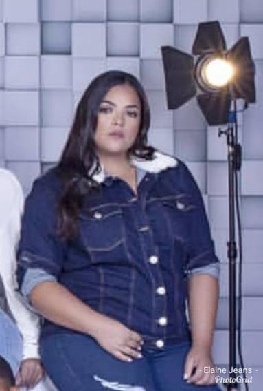 Jaqueta Plus Size Consciencia Jeans Pelo Gola Até O 54