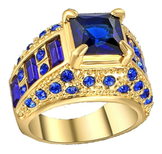 Anel Feminino Cravejado Pedra Cristal Safira Azul Beleza 507