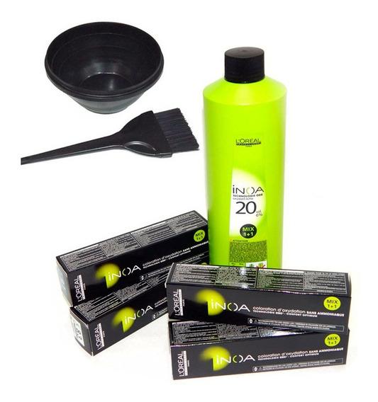 Kit X4 Inoa Tintura De Loreal 60gr + Oxidante 20 V + Extras