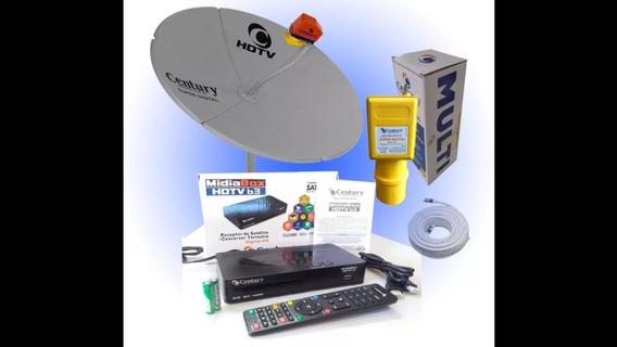 Kit Antena Parabólica E Receptor Century Midia Box Hdtv B3