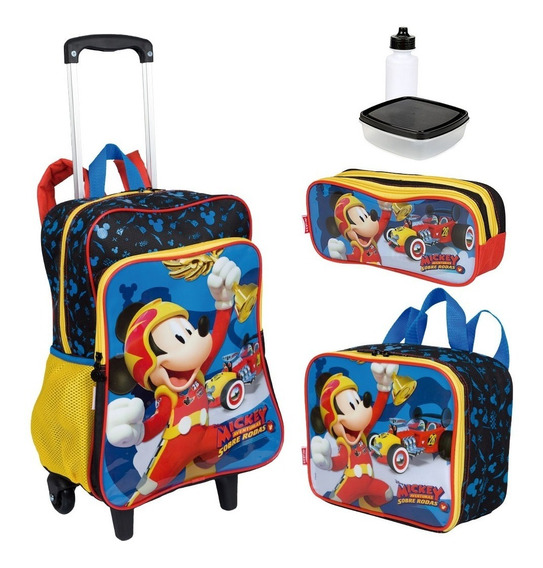 Kit Mochila Infantil Mickey 19m Plus Lancheira Estojo