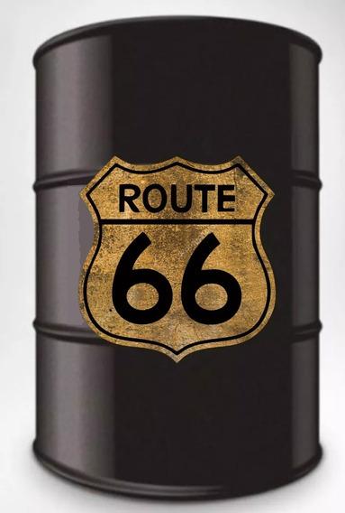 Adesivo Decorativo Route 66 Envelhecido Tambor Barril 200l