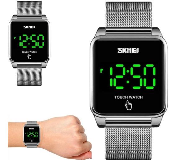 Relógio Unissex Skmei Prateado Quadrado Touch Watch 1532