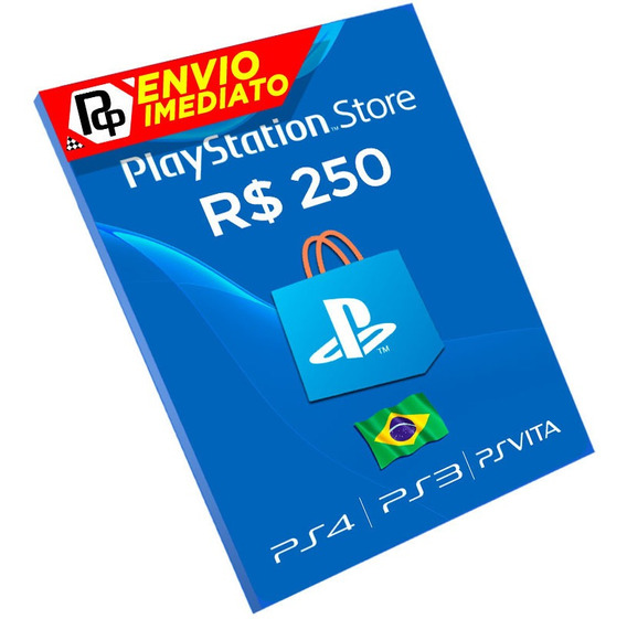 Cartão Playstation R$250 Reais Psn Brasil Brasileira