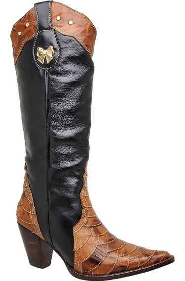 Bota Country Feminina Texana Escamada Couro Crush Mel/ Preto