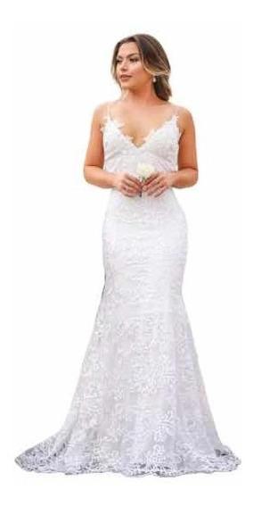 Vestido De Noiva Sereia Alcinha Tule Bordado Casamento L211