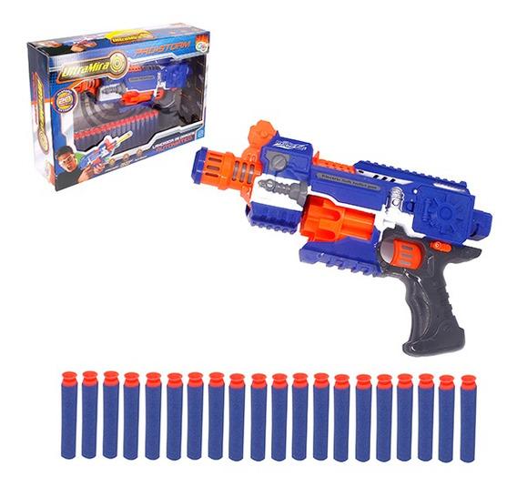 Pistola Lança Dardos Espuma Com 20 Dardos Mira Automática