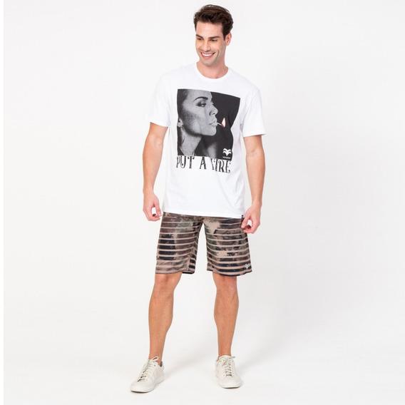 Camisa Casual Masculina T-shirt Put A Fire Branca