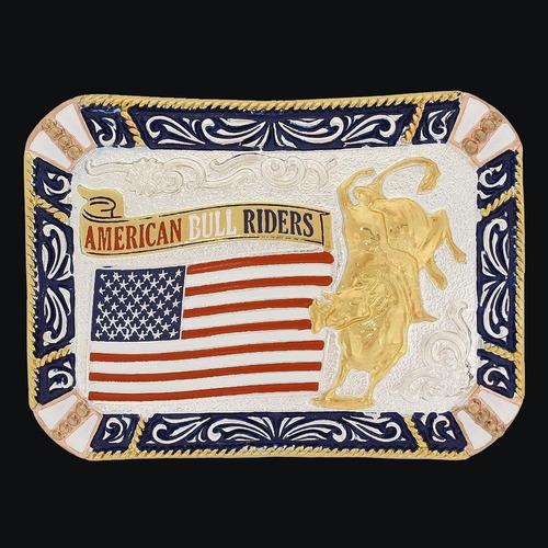 Imagem 1 de 1 de Fivela American Bull Riders Com Banho Dourado Prata - Sumeta