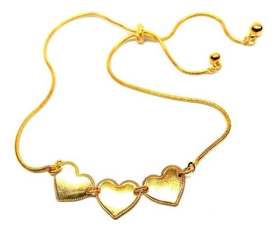 Pulseira Folheada Ouro 18 Cm Três Corações