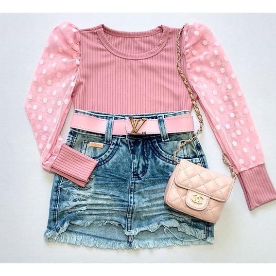 Saia Jeans Infantil Blogueirinha Mini Diva Mini Influencer