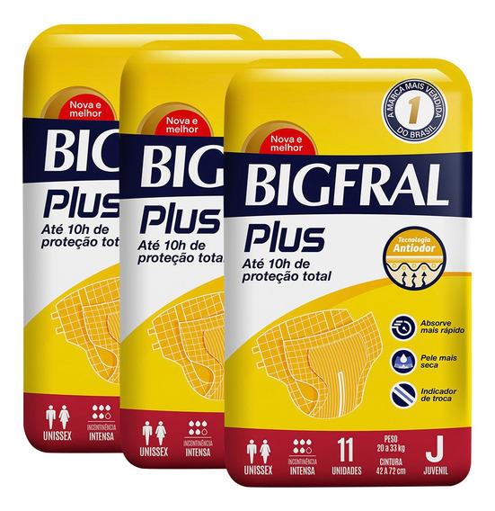 Kit De Fraldas Adultas Bigfral Plus Juvenil - 33 Unidades