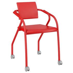 Cadeira Para Escritório 1713 Carraro Rodízios -vermelho Real
