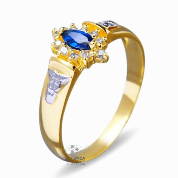 Anel De Formatura Feminino Ouro 18k Com Pedras 2,5 Gr 6149