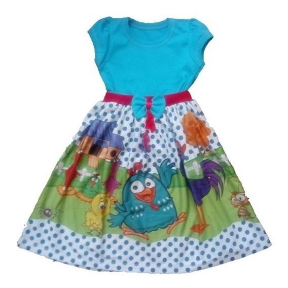 Vestido Infantil Galinha Pintadinha Malha Roupa/fantasia