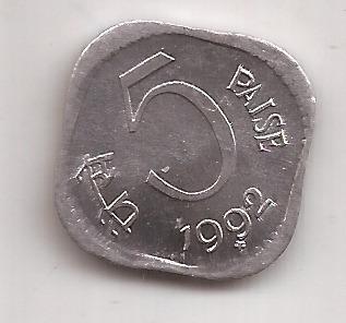 India Moneda De 5 Paise Año 1992 Excelente