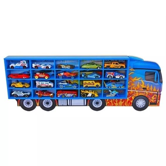 Caminhão Expositor Com Nichos Para 20 Carrinhos Hot Wheels