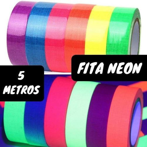 Kit Fita Adesiva Fluorescente Festa Teto Brilha Neon Decora