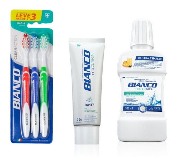 Kit Bianco Creme Dental + Enxaguante+ 3 Escovas De Dente