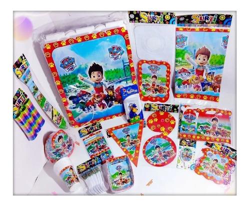 Kit Decoración Infantil Paw Patrol Fiesta 12 Invitados Niños