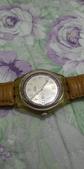 Relógio Swatch Caixa De 34mm , Pulseira De Couro Original