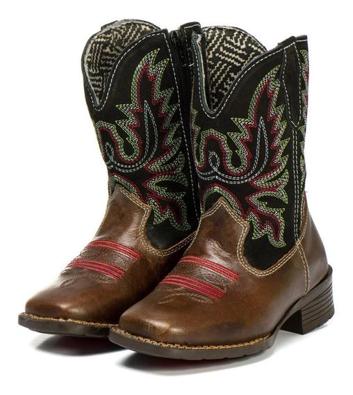 Bota Texana Infantil Menina Couro Barretos Country Reforçada